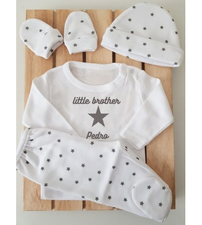 Conjunto con polaina personalizado con gorrito y manoplas - Little brother / s